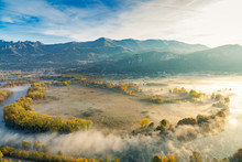 The Eden Valley - View Of The Adda River During A Foggy Morning, Airuno, Italy