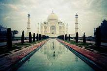 Taj Mahal In The Early Morning. Agra. India