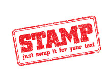 Easy Edited Template Of Rubber Stamp. Just Swap STAMP For Your Text. Vector Illustration.