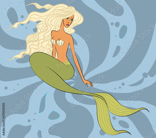 mermaid with long blonde hair