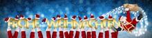 Frohe Weihnachten Weihnachtsmann Auf Schlitten Lustig Umfliegt Hände Mit Goldenen Buchstaben Vor Blauem Hintergrund