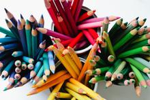 Bright Colored Pencils In Cont...