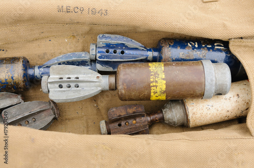 Poster  Bag with assorted WW2 bombs, grenades and mortars