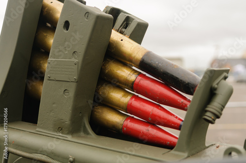 Shells loaded onto a World War 2 artillery gun. Canvas Print