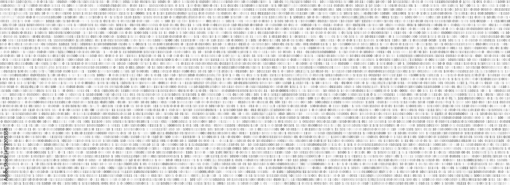 Fototapety, obrazy: Binary code black and white background with two binary digits, 0 and 1 isolated on a white background. Algorithm Binary Data Code, Decryption and Encoding. Vector illustration.