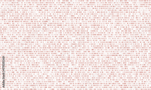 Fotografía  Binary code red background with two binary digits, 0 and 1 isolated on a white background