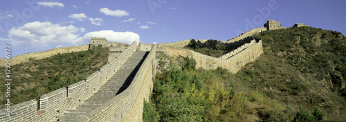 Poster Chinese Muur Elevated panoramic view of the Jinshanling section of the Great Wall of China, UNESCO World Heritage