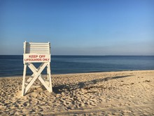 A Lifeguard Chair On The Beach At Sunken Meadow State Park On Long Island Sound In New York State - Landscape