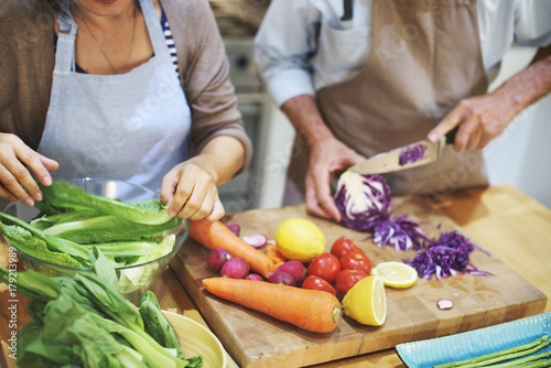 Fotografie, Obraz  Family Cooking Kitchen Preparation Dinner Concept