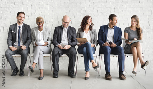 Group of diverse people are waiting for a job interview Wallpaper Mural