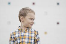A Blonde Boy In A Plaid Shirt ...