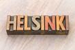 Helsinki word abstract in wood type
