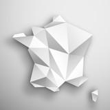 Fototapeta Paryż - mapa Francji origami wektor