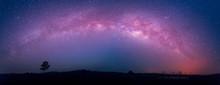 Star, Astronomy, Panoramic Of  Milky Way Galaxy, Long Exposure Photograph With Grain At  Thung Kamang Nature Park, Chaiyaphum, Thailand