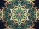 Green and gold fractal spirals, digital artwork for creative gra - 179231716