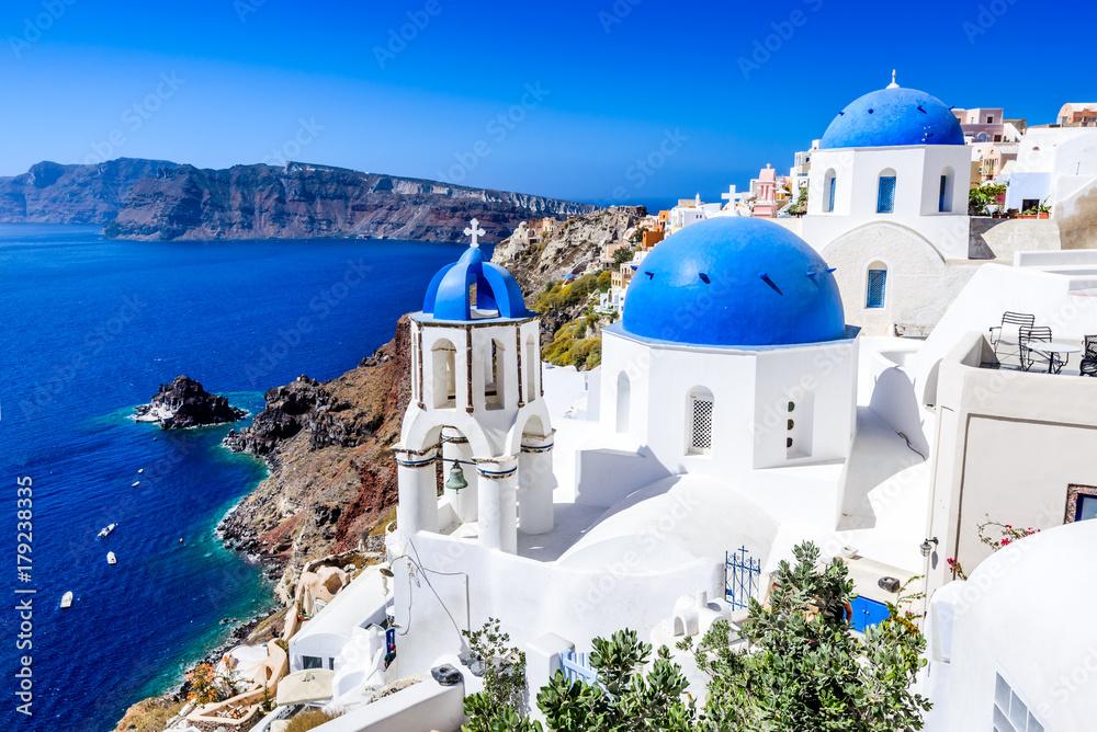 Fototapety, obrazy: Oia, Santorini, Greece - Blue church and caldera