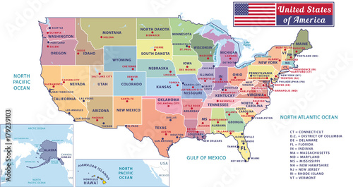 States capitals and major cities of the United States of America ...