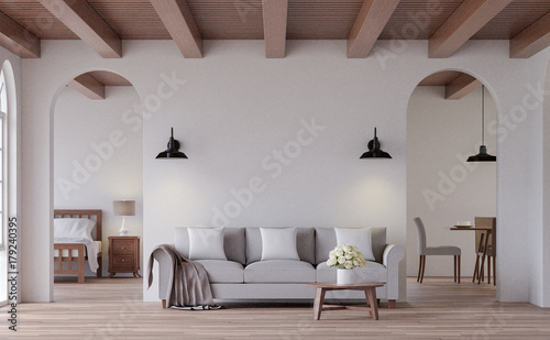 Foto op Plexiglas Retro Vintage living 3d rendering image.The Rooms have wooden floors and ceilings with white walls and arch windows. Look through the door to see the bedroom and dining room behind.