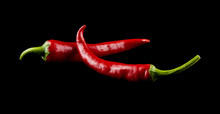 Red Pepper On A Black Background Closeup