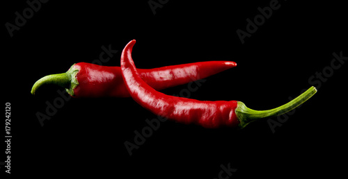 Foto op Plexiglas Hot chili peppers red pepper on a black background closeup