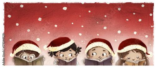 Photo cara de niños leyendo en navidad