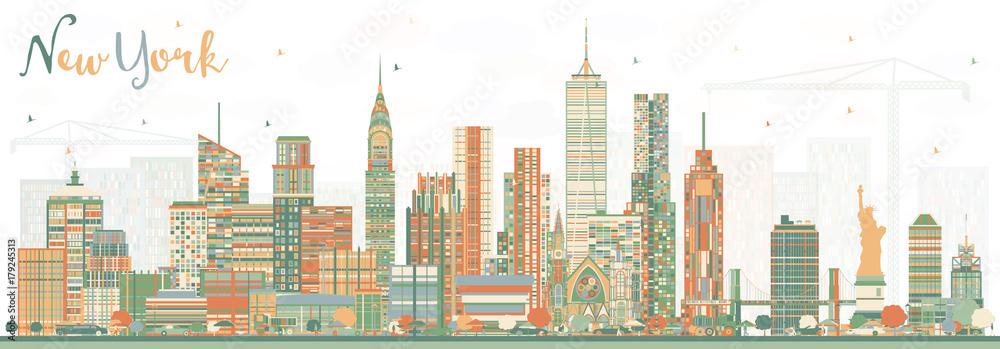 Fototapety, obrazy: New York USA Skyline with Color Skyscrapers.