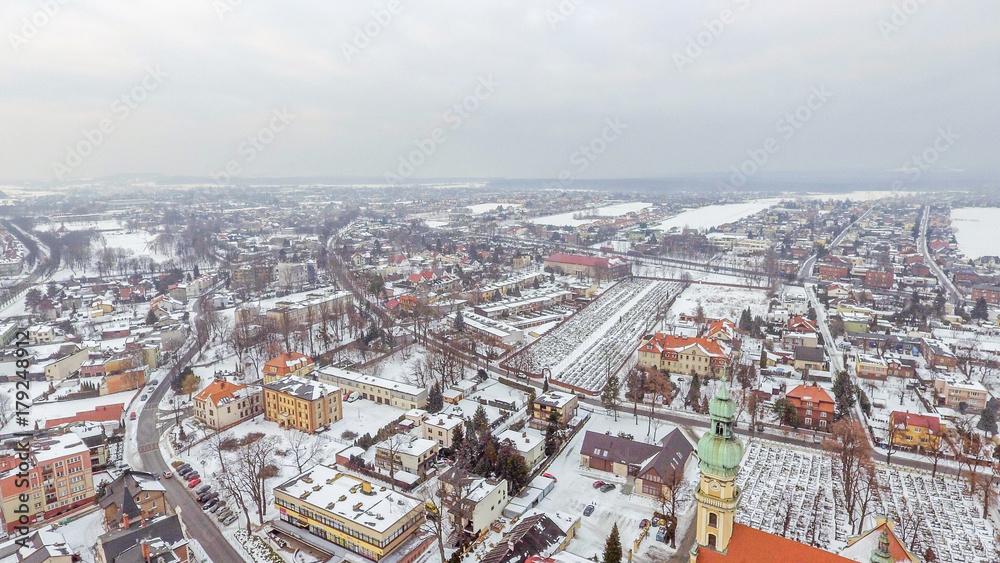 Obraz Tychy, panorama miasta z drona fototapeta, plakat