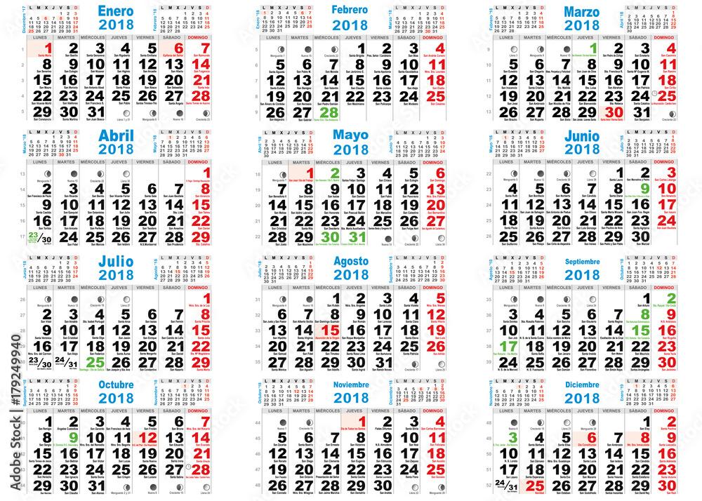 Calendario Lunar 2020 Espana.Fotomural Calendario Santoral Lunar 2018 Ref 179249940