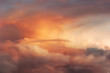 Leinwandbild Motiv Sunset Sky over clouds Landscape Travel serene tranquil view flying beautiful natural colors