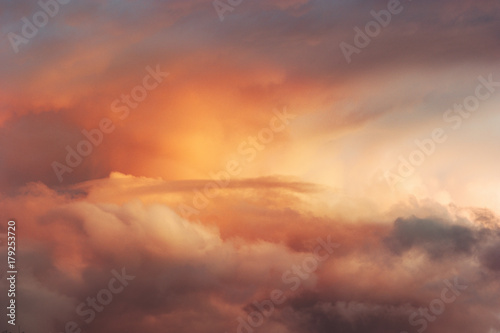 Sunset Sky over clouds Landscape Travel serene tranquil view flying beautiful natural colors - 179253720