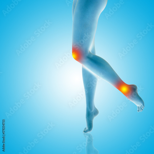 9c2b974a24c Conceptual beautiful woman or girl legs and feet with a hurt knee and ankle  pain or ache. 3D illustration of human slim fit body medical health care ...