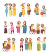 Senior Women Cartoon Icons Set