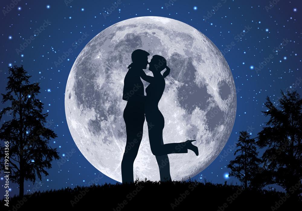 Fototapeta amoureux - amour - couple - romantique - baiser -clair de lune - romance - sexualité - sensualité