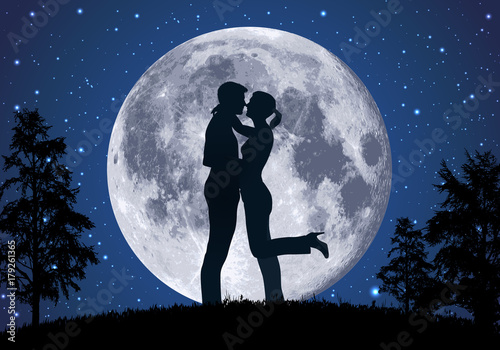 Fotografie, Obraz  amoureux - amour - couple - romantique - baiser -clair de lune - romance - sexua