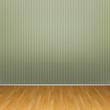 3d interior rendering of green striped wallpaper and wooden floor