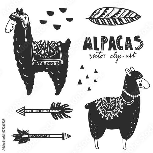 Hand drawn monochrome vector illustration llamas or alpacas hand drawn monochrome vector illustration llamas or alpacas scandinavian style for nursery room m4hsunfo
