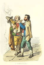 Two Bagpipers. Old Illustratio...