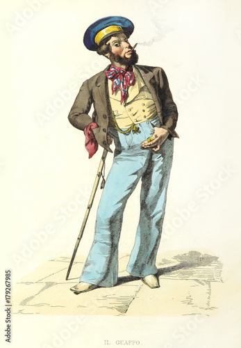 Guappo, Neapolitan word meaning thug, bully, braggart, in elegant