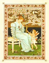 Woman And Cupid In A Garden. Vintage Romantic Context Inside A Floral Frame. Old Colorful Illustration By Crane And Greenaway, The Quiver Of Love, Ed. Marcus Ward, London And Belfast, 1876