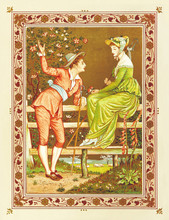 Man Courting A Beautiful Woman In A Garden. Vintage Romantic Context In A Floral Frame. Old Colorful Illustration By Crane And Greenaway, The Quiver Of Love, Ed. Marcus Ward, London And Belfast, 1876