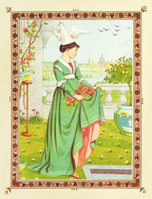 Sad Woman In A Garden With Flowers On Her Skirt. Medieval Romantic Context In A Floral Frame. Old Colorful Illustration By Crane And Greenaway, The Quiver Of Love, Ed. Marcus Ward, London And Belfast.