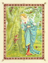 Lover Woman Looks At Love Heart Symbol Carved On A Tree Trunk. Medieval Romantic Context In A Floral Frame. Old Colorful Illustration By Crane And Greenaway, The Quiver Of Love, Ed. Marcus Ward, 1876