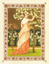 Beautiful Woman In Red Dress Seizes Flowers From A Little Tree. Vintage Romantic Context In A Floral Frame. Old Colorful Illustration By Crane And Greenaway, The Quiver Of Love, Ed. Marcus Ward, 1876