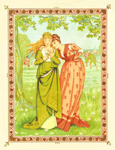 Two Women In A Park. He Loves Me, Loves Me Not. Vintage Romantic Context In A Floral Frame. Old Colorful Illustration By Crane And Greenaway, The Quiver Of Love, Ed. Marcus Ward, 1876