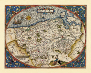 Fototapeta Mapy Old map of Belgium. Excellent state of preservation realized in ancient style. All the graphic composition is inside a oval frame. By Ortelius, Theatrum Orbis Terrarum, Antwerp, 1570
