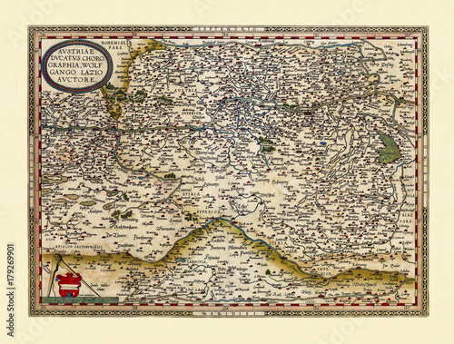 Obraz na płótnie Old map of Austria Excellent state of preservation realized in ancient style All the graphic composition is inside a frame By Ortelius, Theatrum Orbis Terrarum, Antwerp, 1570