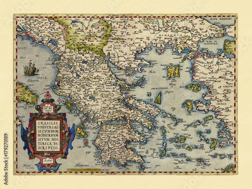 Obraz na płótnie Old map of Greece Excellent state of preservation realized in ancient style All the graphic composition is inside a frame By Ortelius, Theatrum Orbis Terrarum, Antwerp, 1570