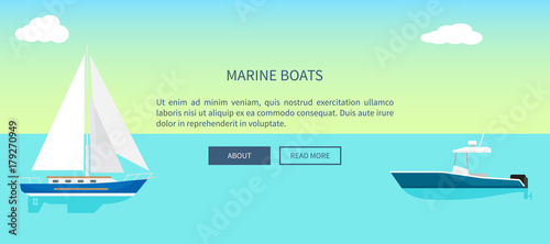 Photo Stands Turquoise Marine Boats Web Banner with Text, Yacht Sailboat