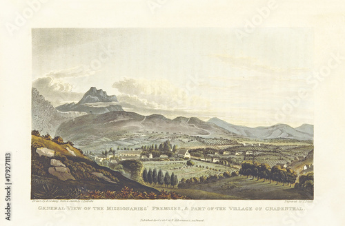 Natural landscape. Panoramic view of Genadendal village, South Africa. Old illustration by Cocking and Stadler after Latrobe, Journal of a Visit to South Africa, in 1815, and 1816, London 1818