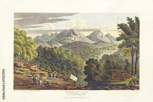Fotobehang Wit Natural landscape and steep location. Hills and mountains on background. Trekata Kou near Plettenberg Bay, South Africa. By Cocking and Havell after Latrobe, publ. in 1815, and 1816, London 1818